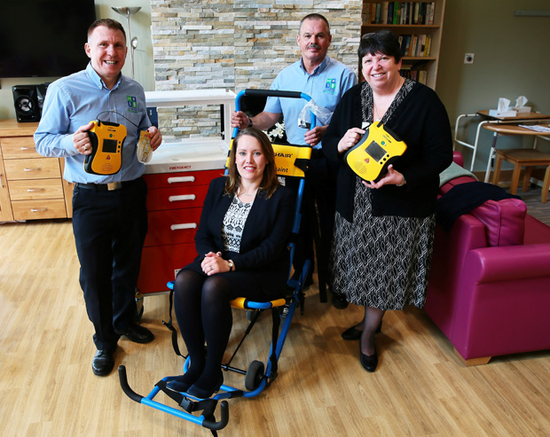 The Northern Echo: PRESENTATION: First Aid equipment, bought with money from the Gannett Foundation, is presented to Willow Burn Hospice pictured Gary Williams Ops manager for Mines Rescue Service, Katherine Luke Income generator manager, Rob Colledge also from Mines Rescue