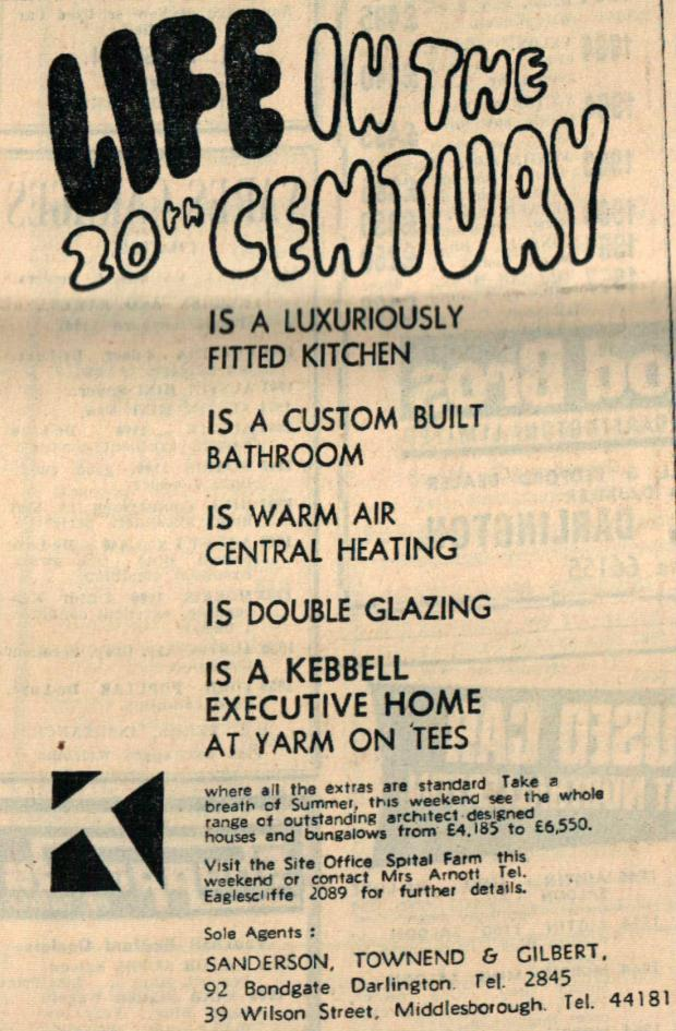 The Northern Echo: DREAM HOME: Yarm is a desirable place to live, which is why today it is ringed by seemingly endless building sites as more homes are added to its boundary. It was always the case, as this advert from August 1967 shows – and 50 years ago, prospective hom