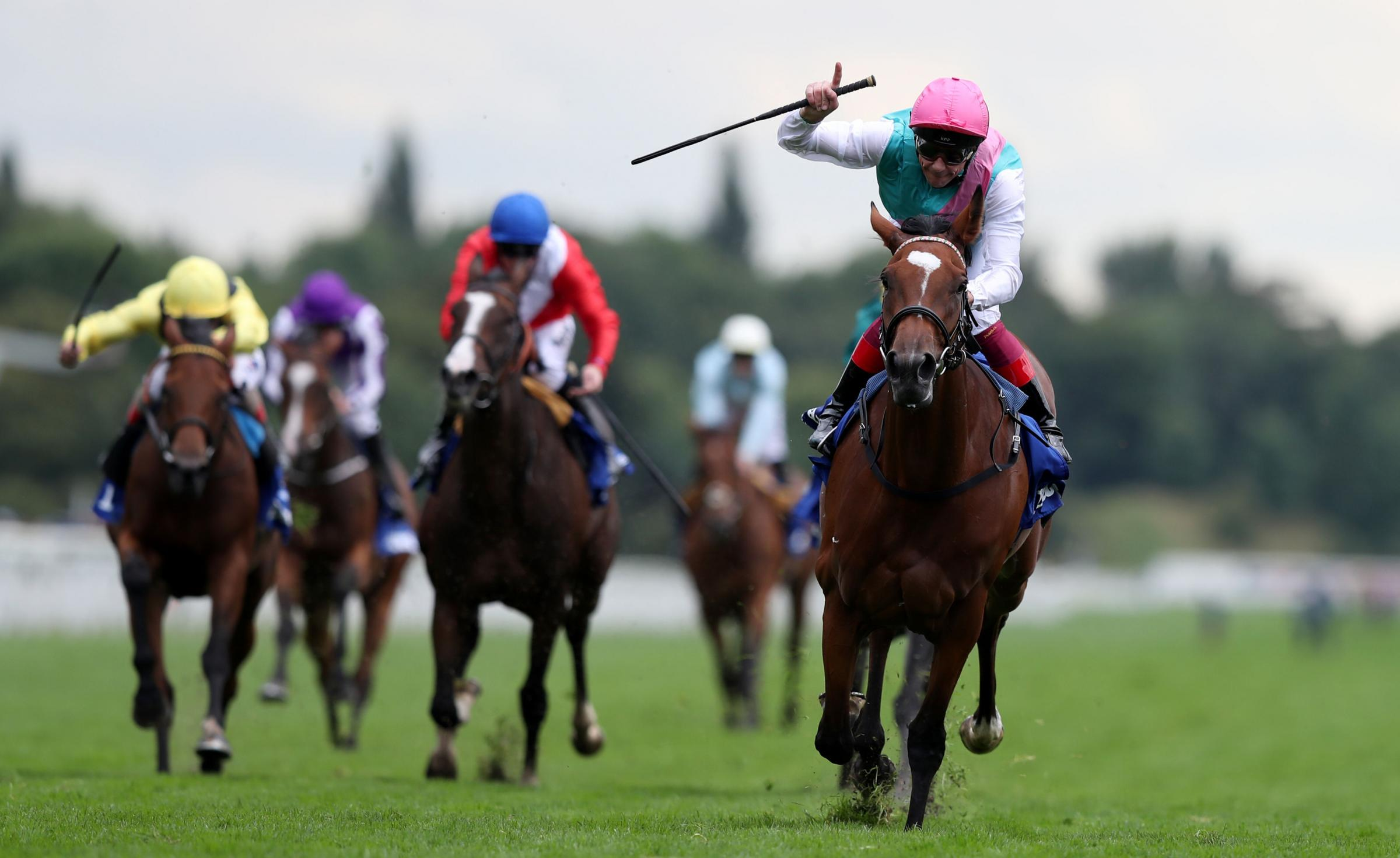 Enable ridden by Frankie Dettori (front right) wins The Darley Yorkshire Oaks during Darley Yorkshire Oaks and Ladies Day of the Yorkshire Ebor Festival at York Racecourse. PRESS ASSOCIATION Photo. Picture date: Thursday August 24, 2017. See PA story RACI