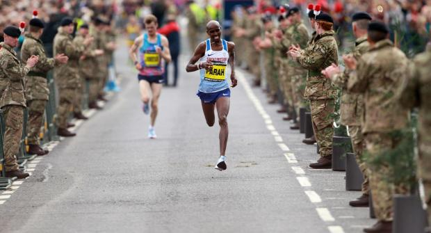 The Northern Echo: Great Britain's Mo Farah  sprints the last stretch to win the men's elite race during the Great North Run in Newcastle. PRESS ASSOCIATION Photo. Picture date: Sunday September 10, 2017. See PA story ATHLETICS North. Photo credit should read: Richa