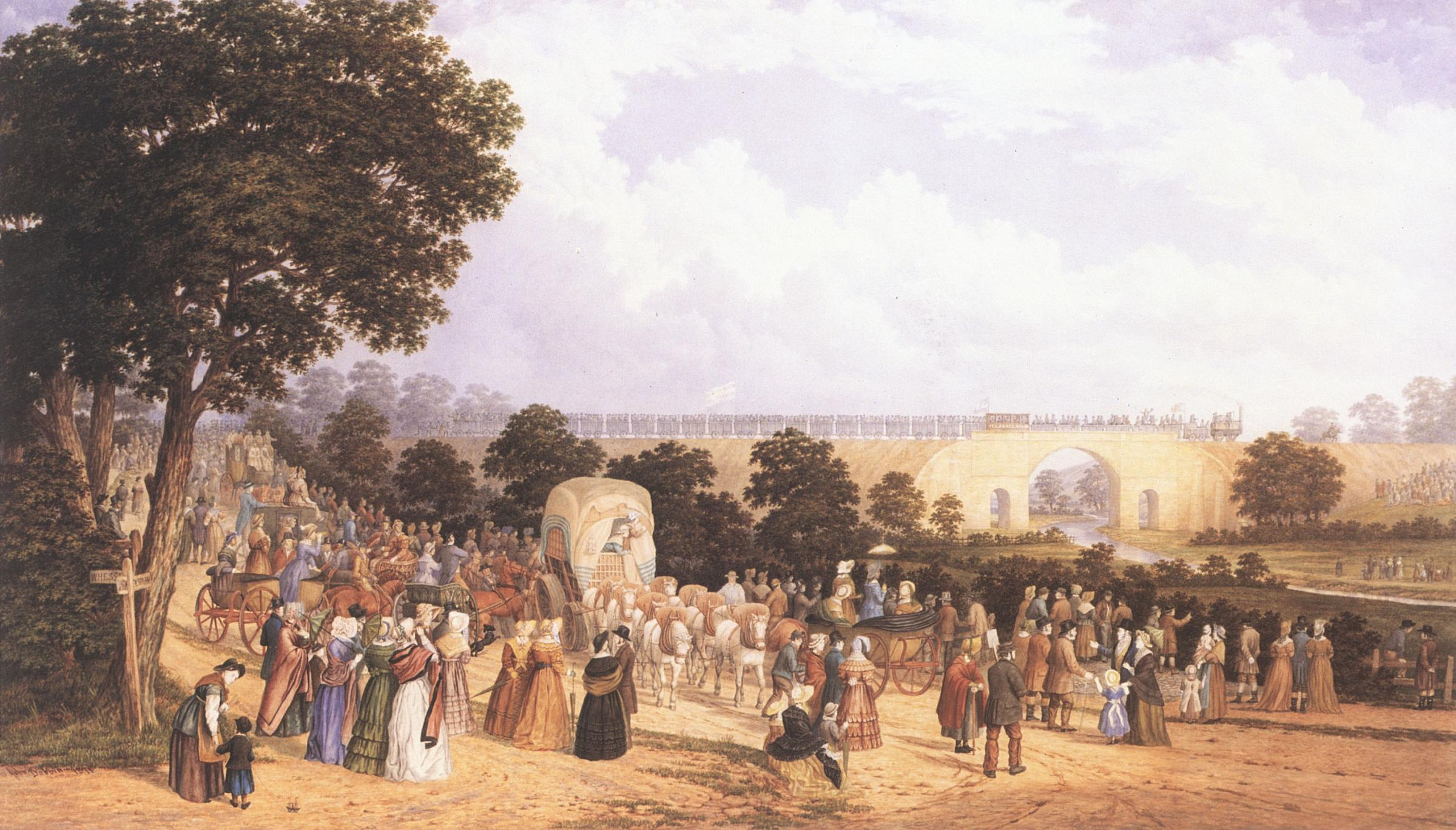 FAMOUS: The famous view taken by artist John Dobbin of the opening day of the Stockton and Darlington Railway on September 27, 1825. It shows Skerne Bridge, which was restored recently, with North Road on the left and Locomotion No 1 going over the bridge