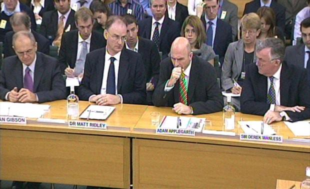 The Northern Echo: Video grab showing Northern Rock bosses (left to right) Senior Independent Director Sir Ian Gibson, Chairman Dr Matt Ridley, Chief Executive Adam Applegarth and Non-Executive Director Sir Derek Wanless, giving evidence to the House of Commons Treasury Com