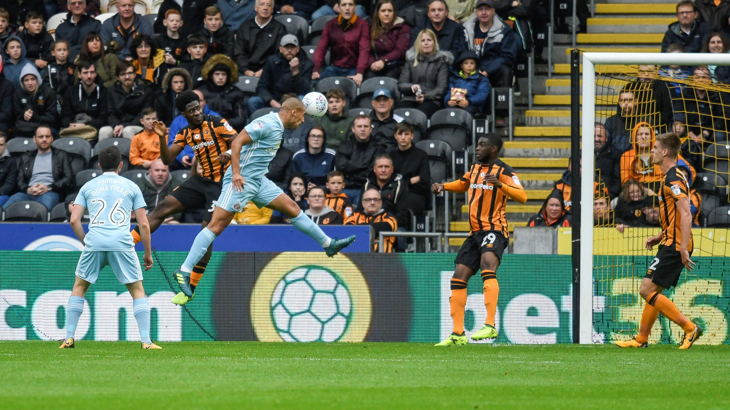 HEADING HOME: James Vaughan scores Sunderland's goal in their 1-1 draw with Hull City (Picture: Focus Images)
