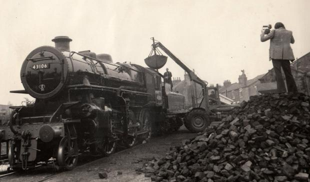 "The Northern Echo: FLYING PIG: The only surviving example of an Ivatt Class 4 locomotive, built at North Road Works, Darlington, in 1951, being coaled in the Dunns' coalyard at Shildon ahead of the 1975 cavalcade. It was nicknamed ""Doodlebug"" or ""Flying P"