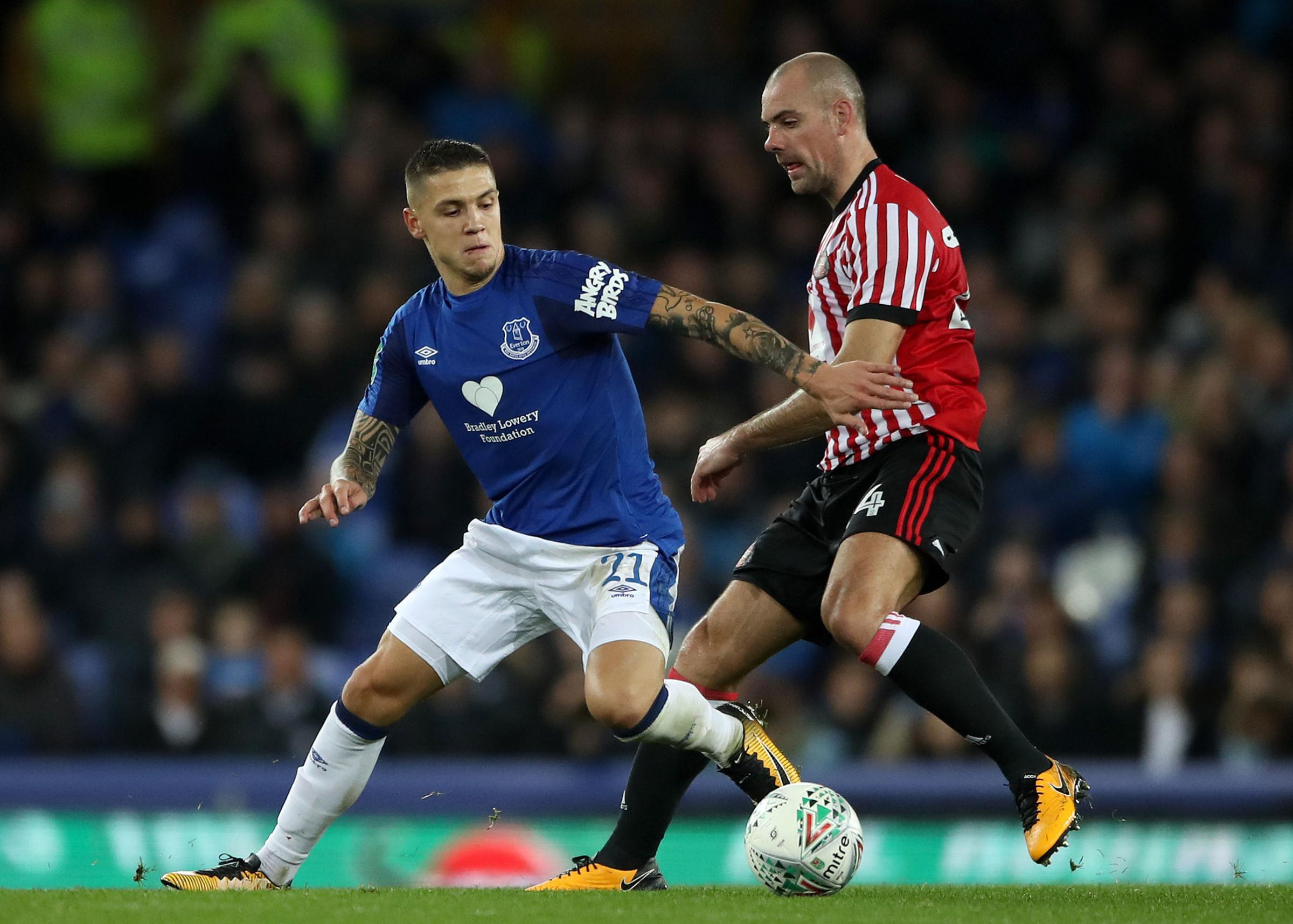 BETTER TIMES? Everton's Muhamed Besic battles with Darron Gibson and the Sunderland man is starting to think things might be turning.