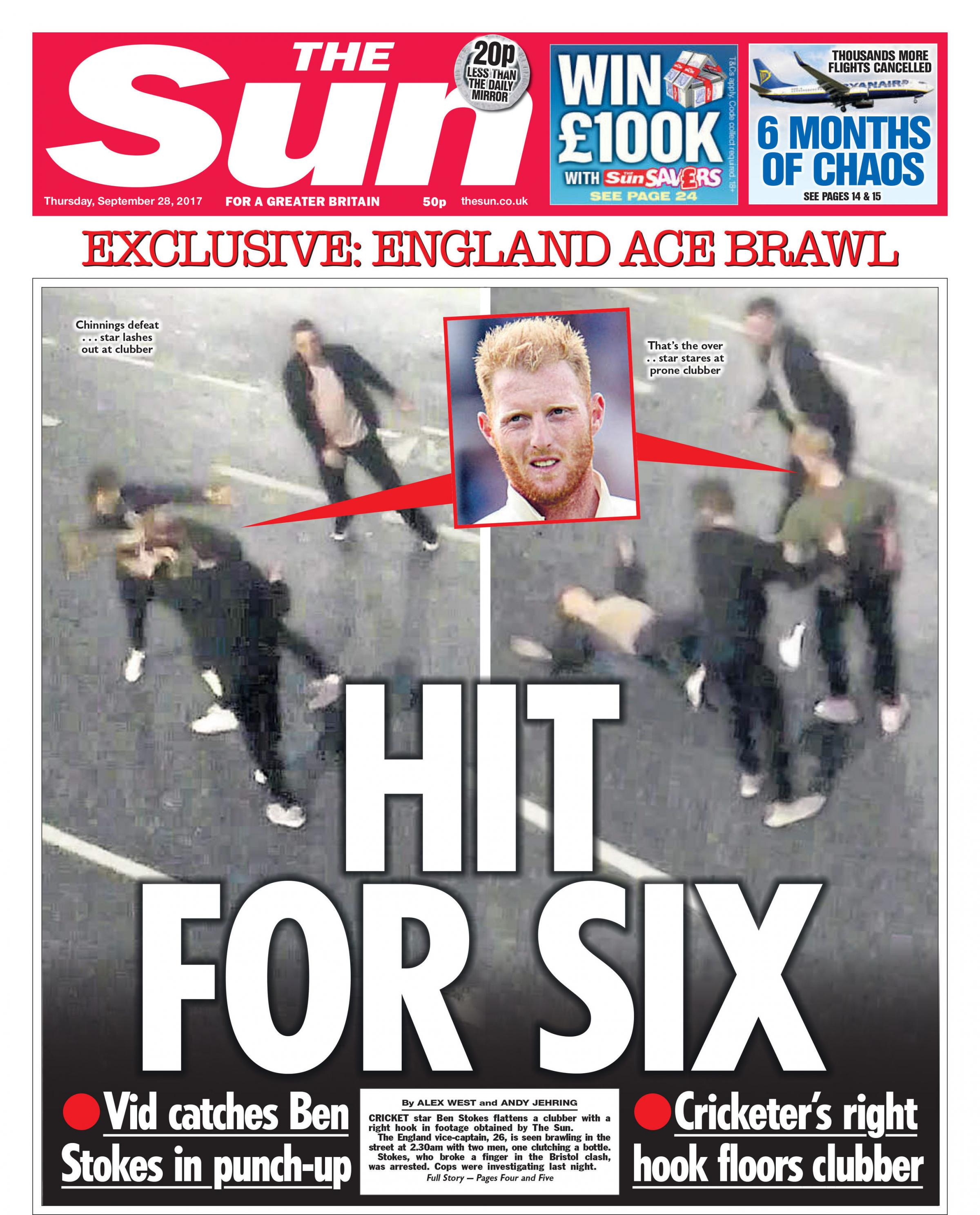 The front page of The Sun which features images showing England cricketer Ben Stokes allegedly throwing punches in a street fight. Picture: PA