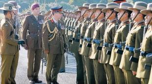 Attention: Brigadier David Clements inspects the Gurkha Brigade