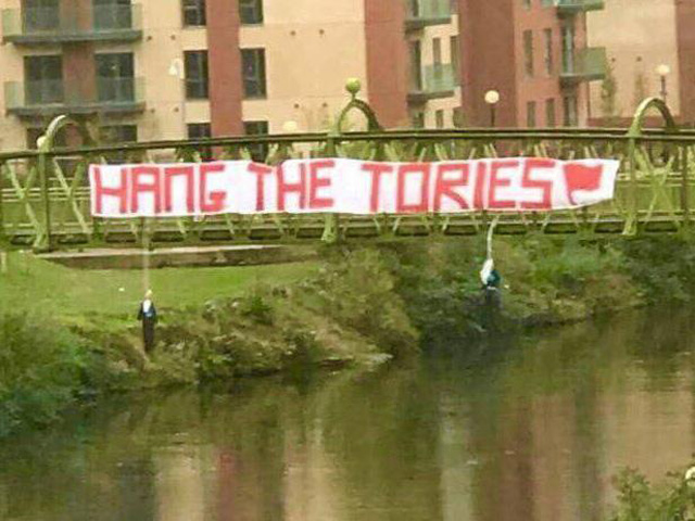 Labour and Conservative MPs condemned the effigies hung from a bridge in Manchester. Picture: Michael Fabricant