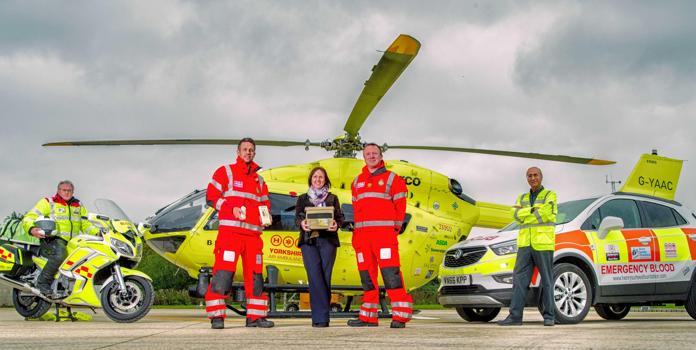 Blood is now being carried on board a Yorkshire Air Ambulance
