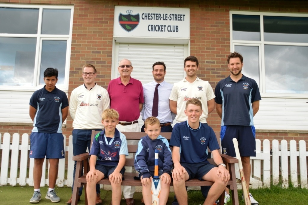 REFURBISHED: Players and coaches from Chester-le-Street Cricket Club along with (back row, centre) chairman Keith Robson, and Lewis Stokes of The Banks Group