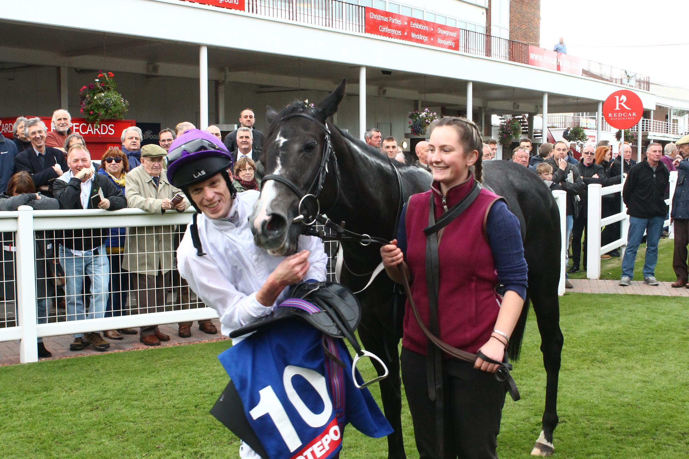 WINNERS: Barry McHugh and Darkanna after their victory in last year's Two-Year-Old Trophy at Redcar. Picture: Peter Barron