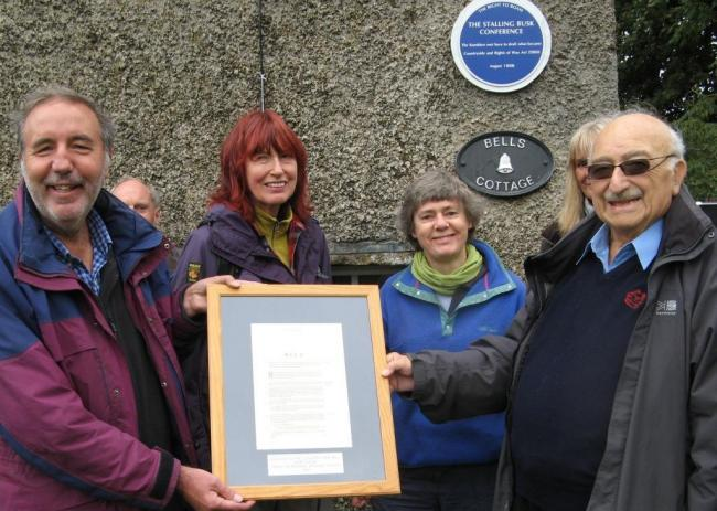 RAMBLERS: Paddy Tipping, Janet Street-Porter, Kate Ashbrook and Jerry Pearlman at the plaque unveiling at Stalling Busk.