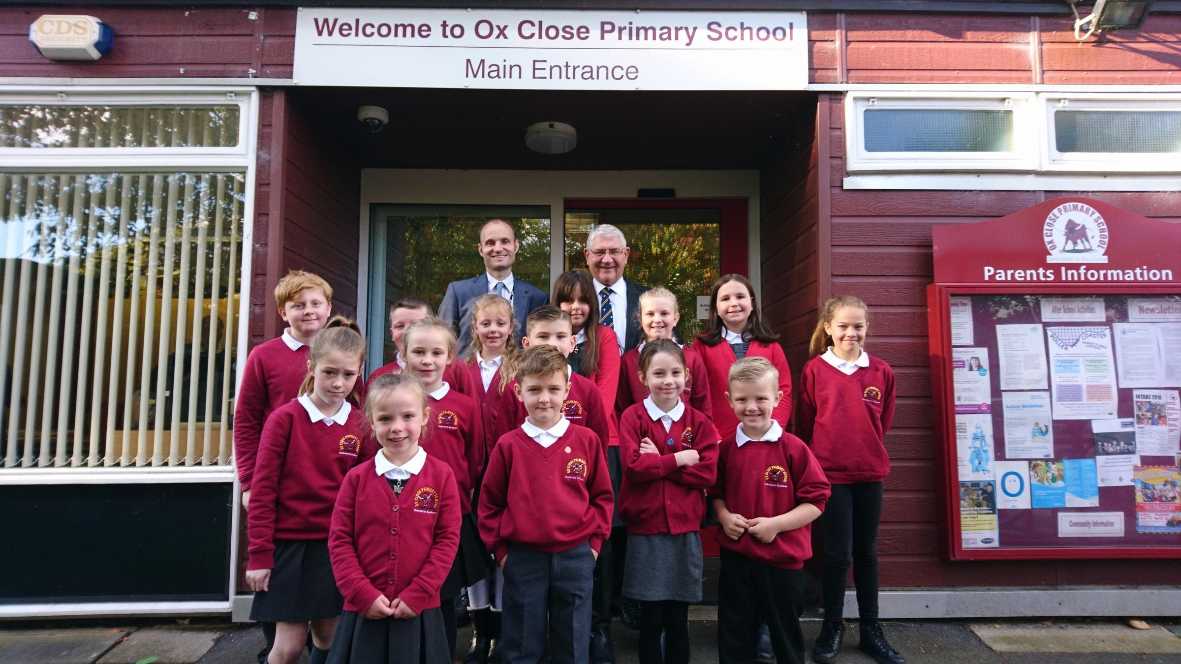 LAUNCH: Ox Close Primary School pupils pictured with Headteacher Daniel Harrison (back left) and PCVC Ron Hogg