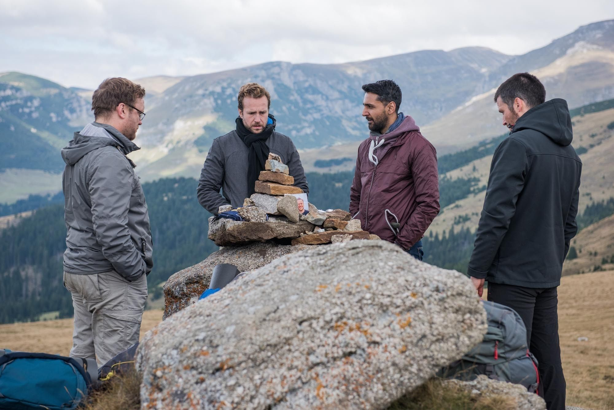 The Ritual. Pictured: Sam Troughton as Dom, Rafe Spall as Luke, Arsher Ali as Phil and Rob James-Collier as Hutch