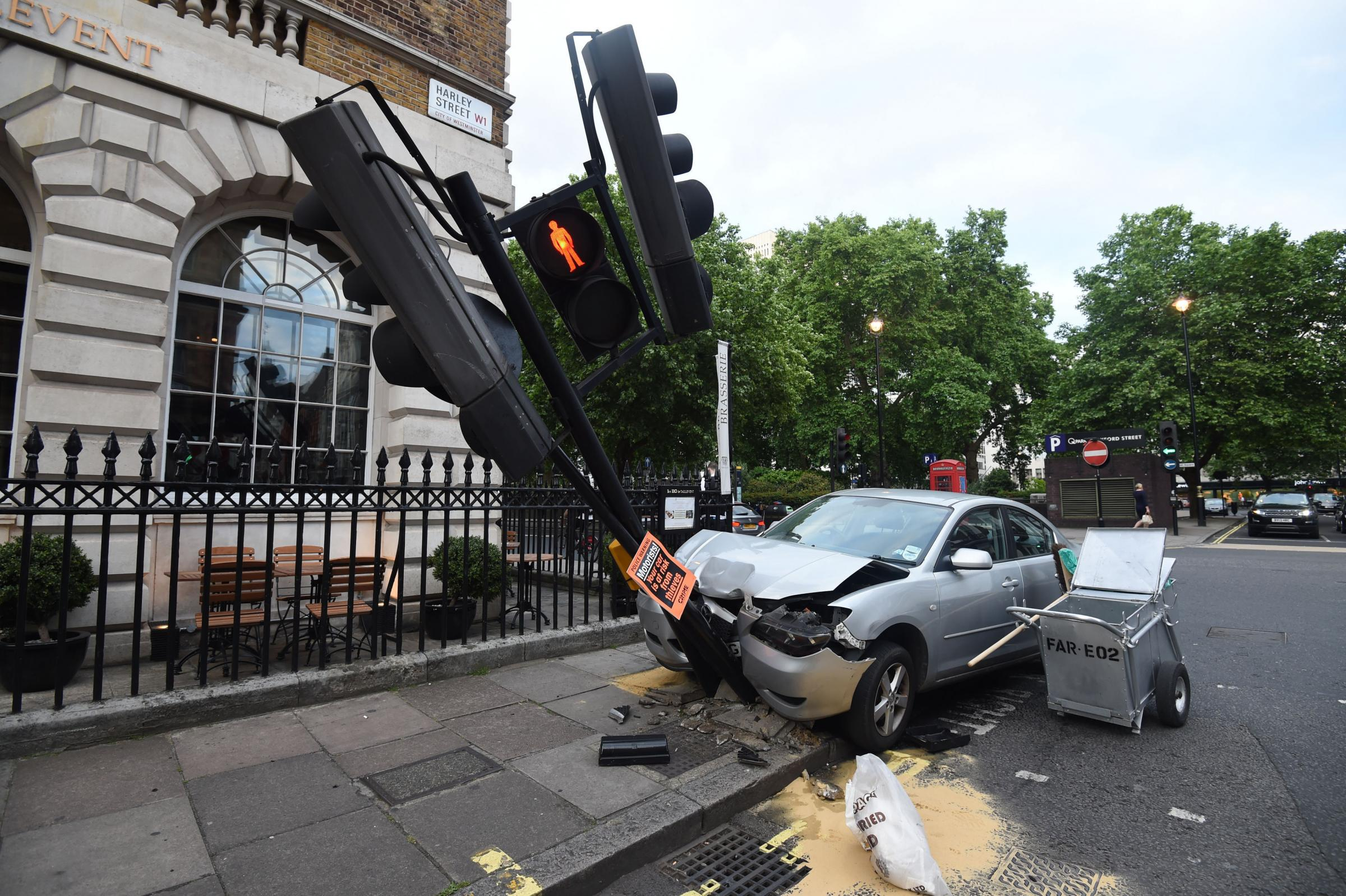 A car crash in London. Picture: PA Wire