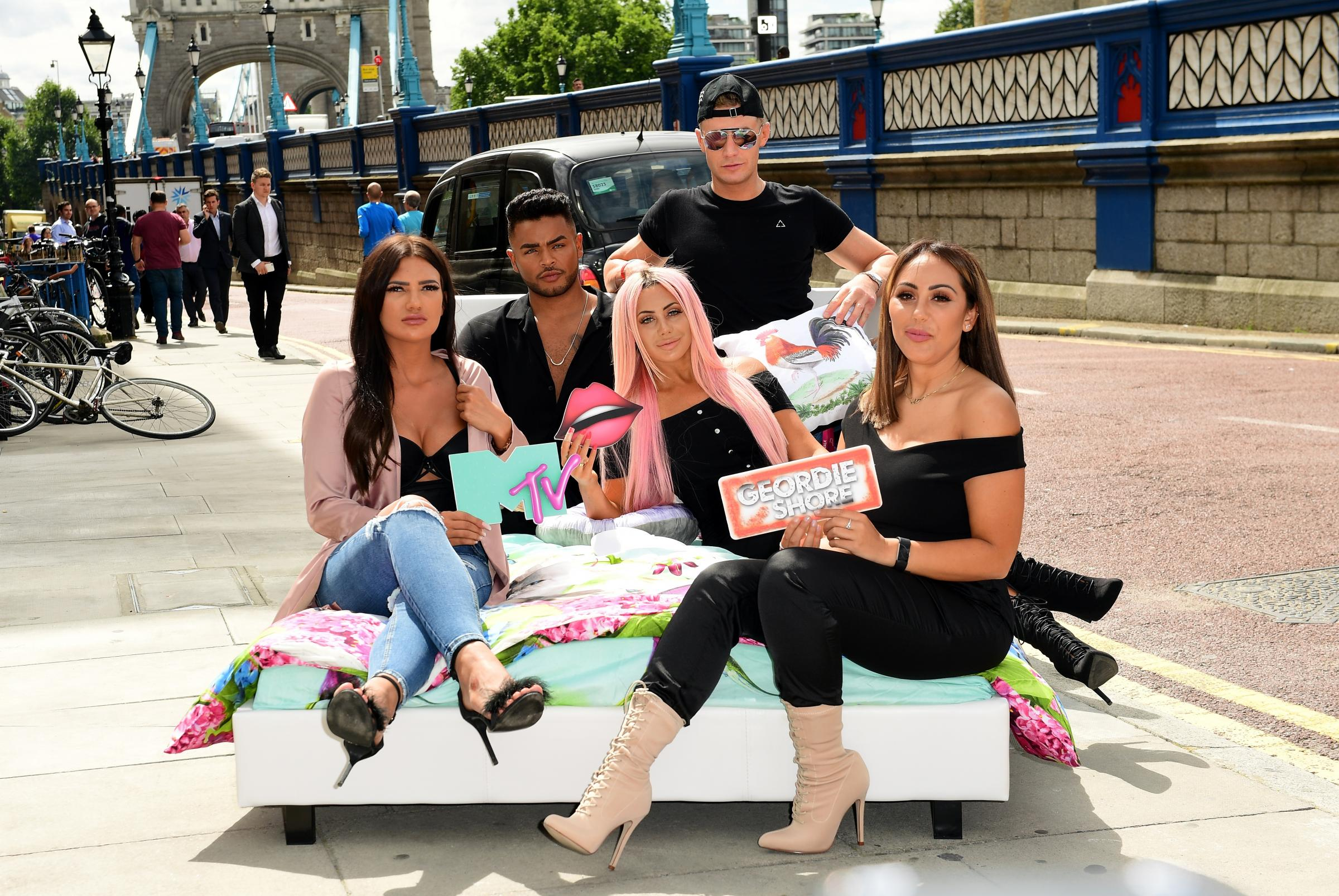 GEORDIE SHORE: From left: Abbie Holborn, Nathan Henry, Chloe Ferry, Scott Timlin and Sophie Kasaei from the launch of series 15  Photo: IAN WEST/PA WIRE
