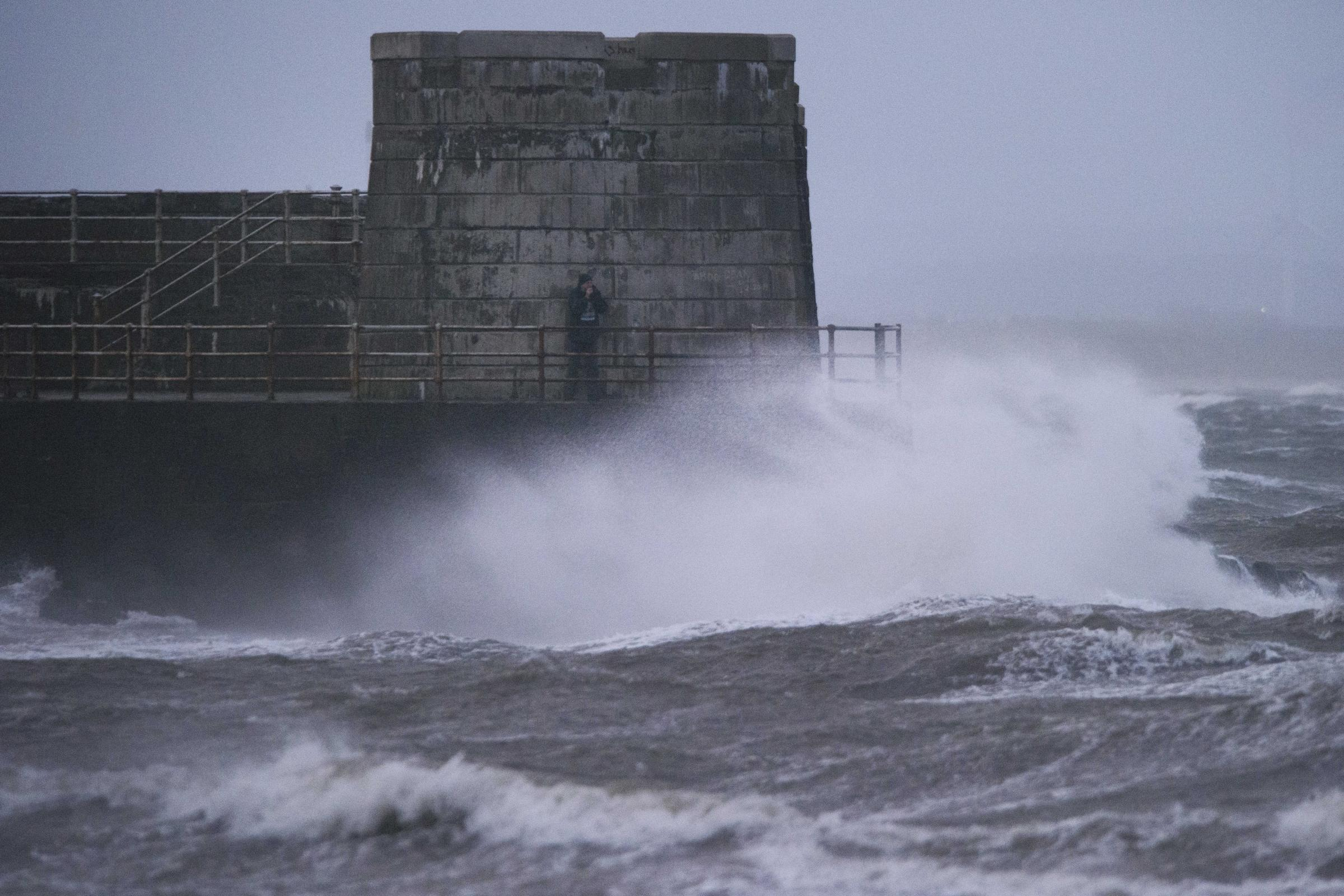 Saltcoats on the west coast of Scotland as Storm Ophelia hit Britain's west coast
