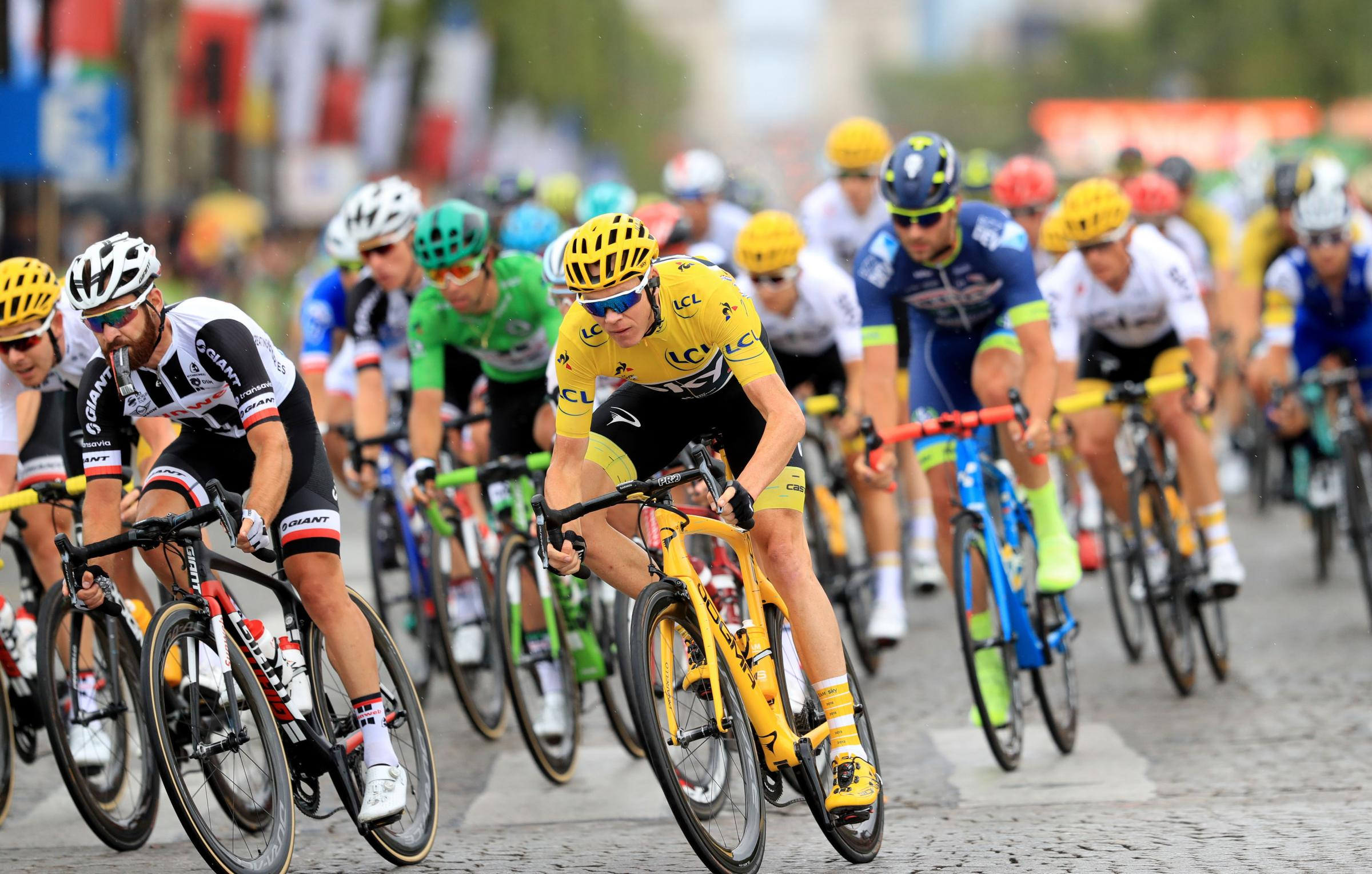 Froome, yellow jersey, strongly denies any wrongdoing, the 32-year-old returned a urine sample during September's Vuelta a Espana containing twice the permitted amount of the asthma drug salbutamol. Picture: PA