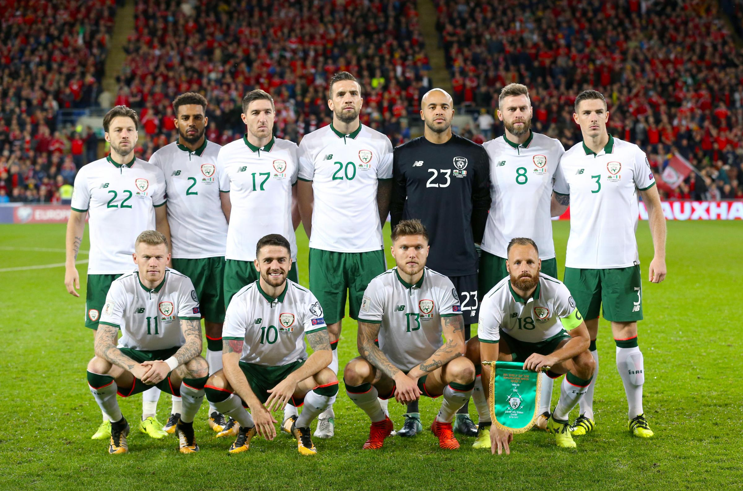 IRISH EYES ARE SMILING: Darren Randolph and Cyrus Christie were both part of the Ireland team that claimed a World Cup play-off place with a win over Wales earlier this month