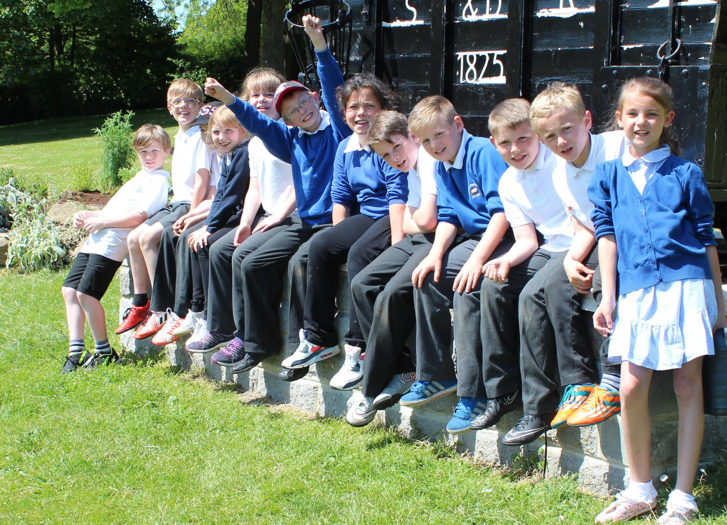 GREEN: Children from Timothy Hackworth Primary School, in Shildon, take a well-earned break during a gardening session