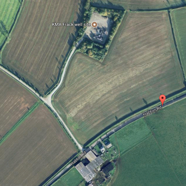 Protesters have set up a fund to help the dairy farm opposite the fracking site on Habton Road. Picture: GOOGLE