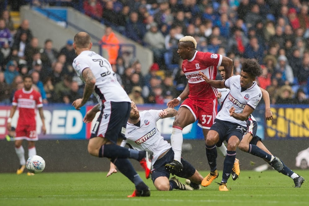 EXCELLENT: Adama Traore caused Bolton allsorts of problems for Middlesbrough at the Macron Stadium
