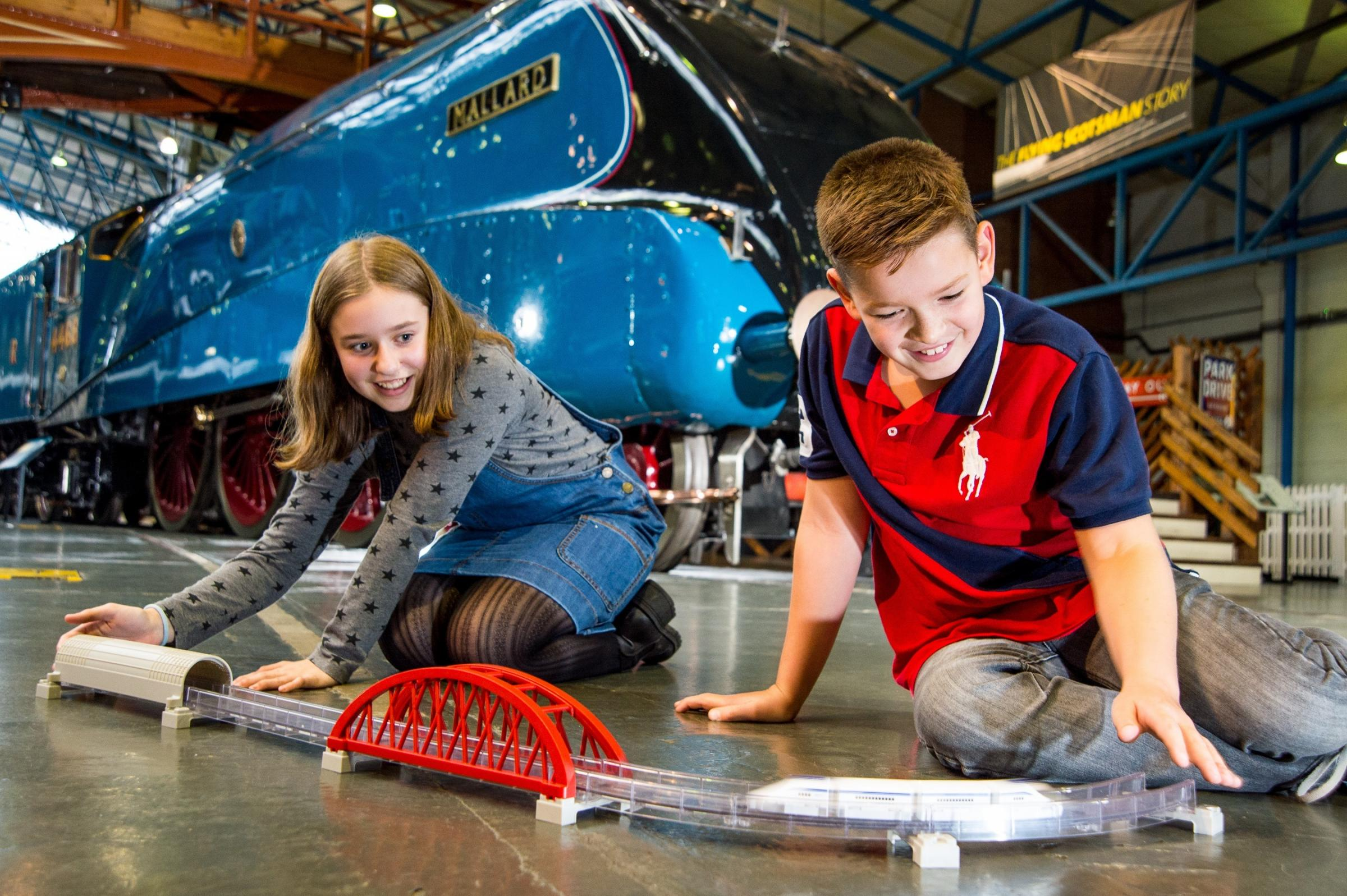 Future Engineers Amelia Betts, 12,  and Charlie Hobson,10, at the National Railway Museum