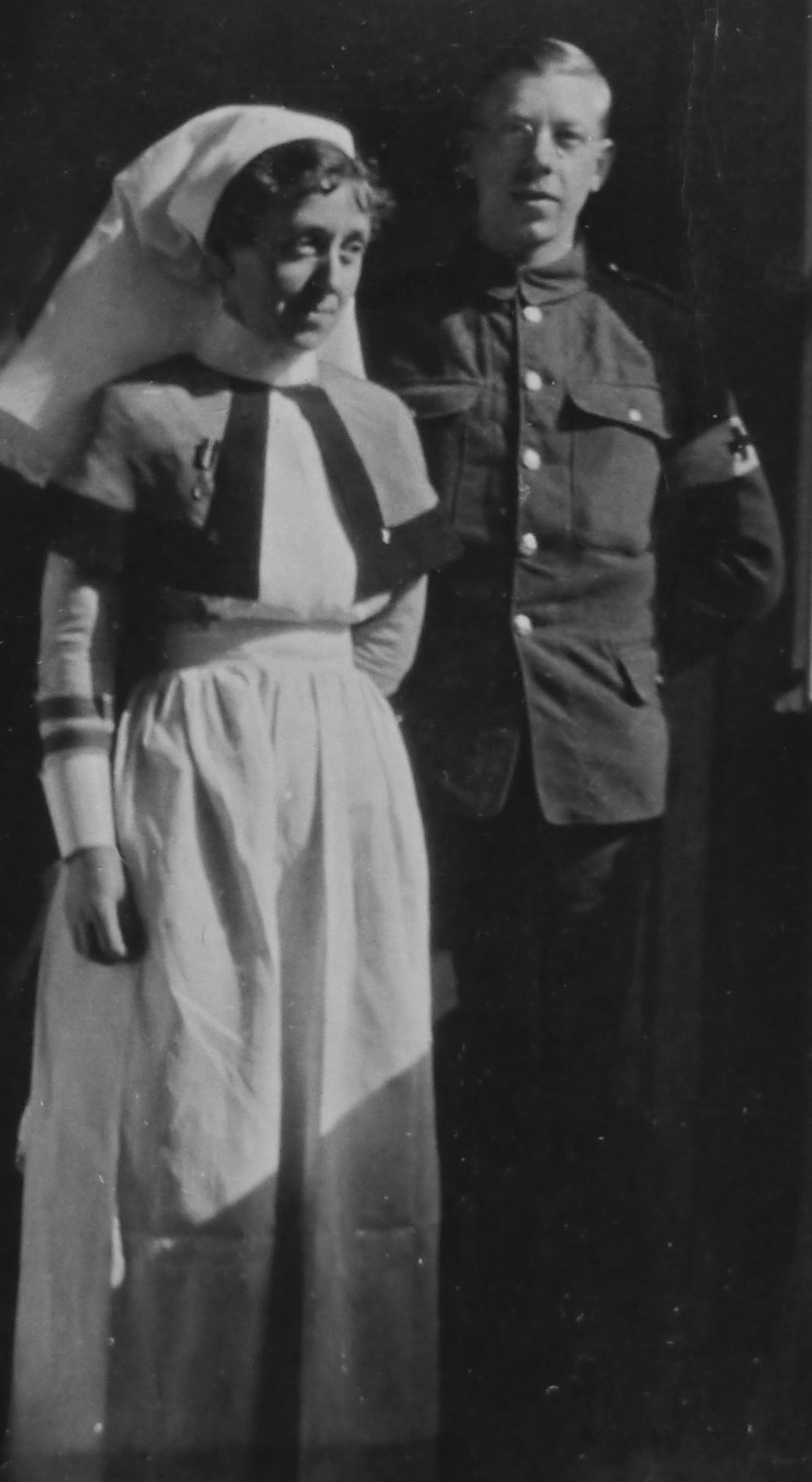 DEVOTED: Sister Kate Maxey with a Royal Army Medical Corps orderly during the war Picture: Maxey Collection