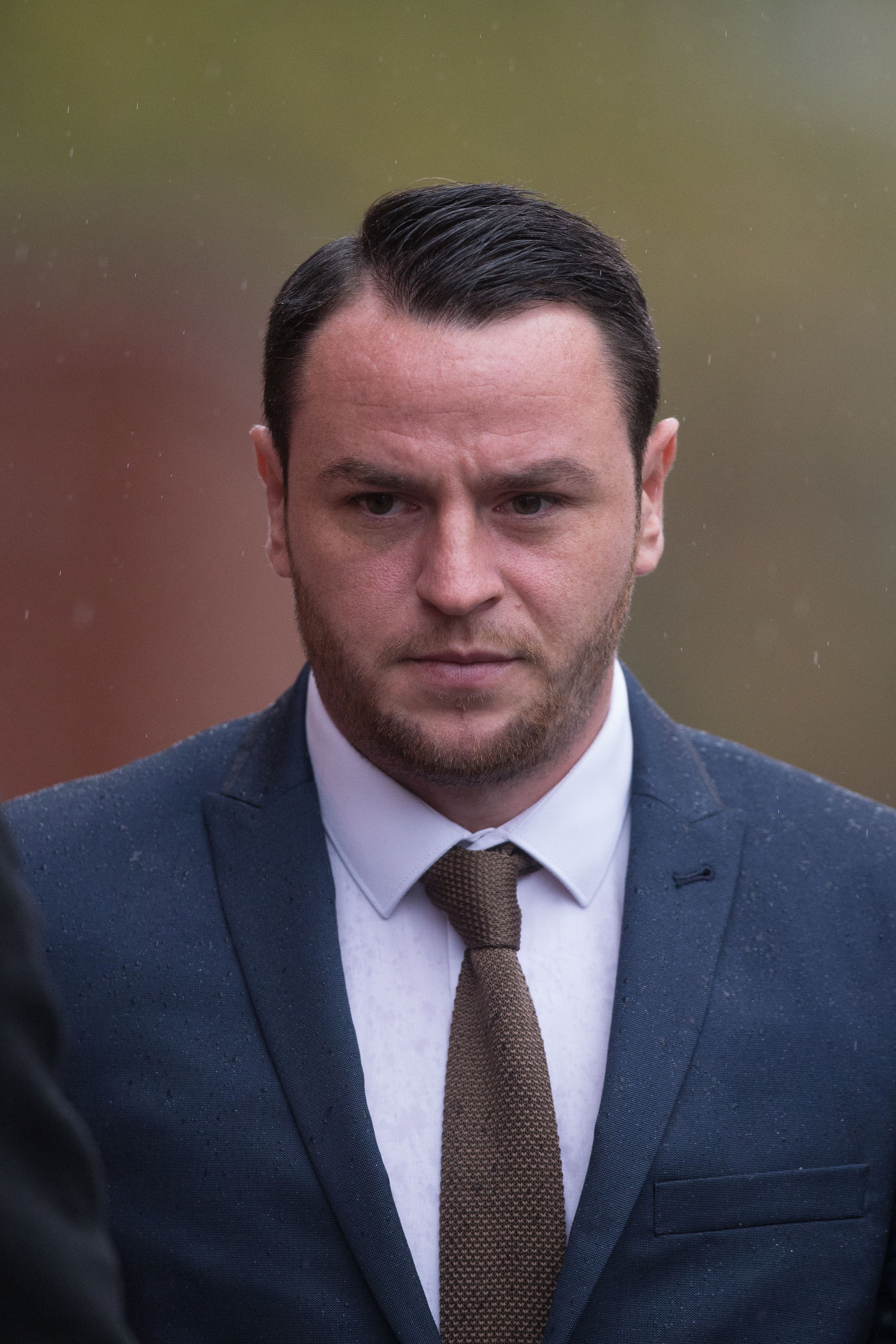 Ex Boro striker Lee Tomlin, 28, arriving at Leicester Magistrates' Court where he and League Two striker Billy Kee appeared charged with causing grievous bodily harm following an assault allegation outside a Leicester nightclub. Picture: PA