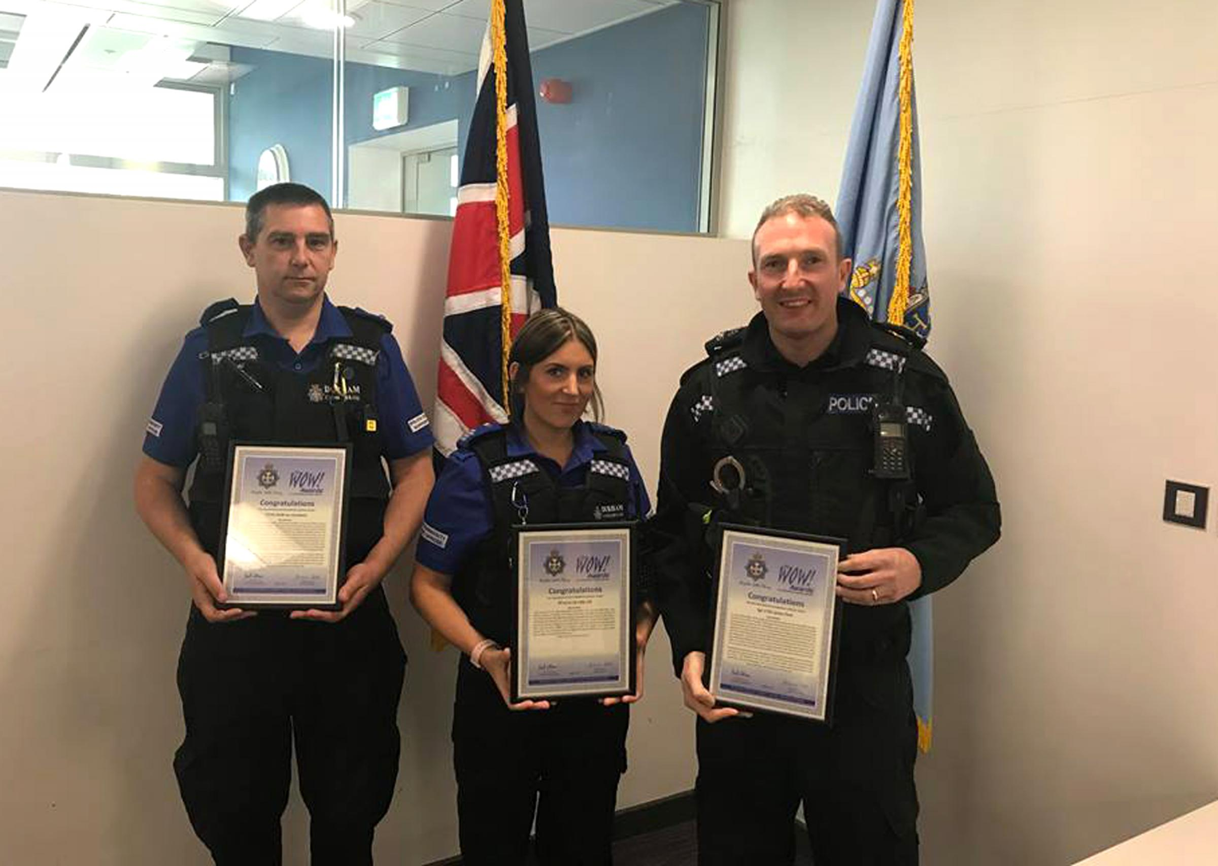 WOW: From left, PCSO Ian Goodwin, PSCO Vikki Gill and Sergeant Jiim Peel, who were presented with Wow awards Picture: Durham Police