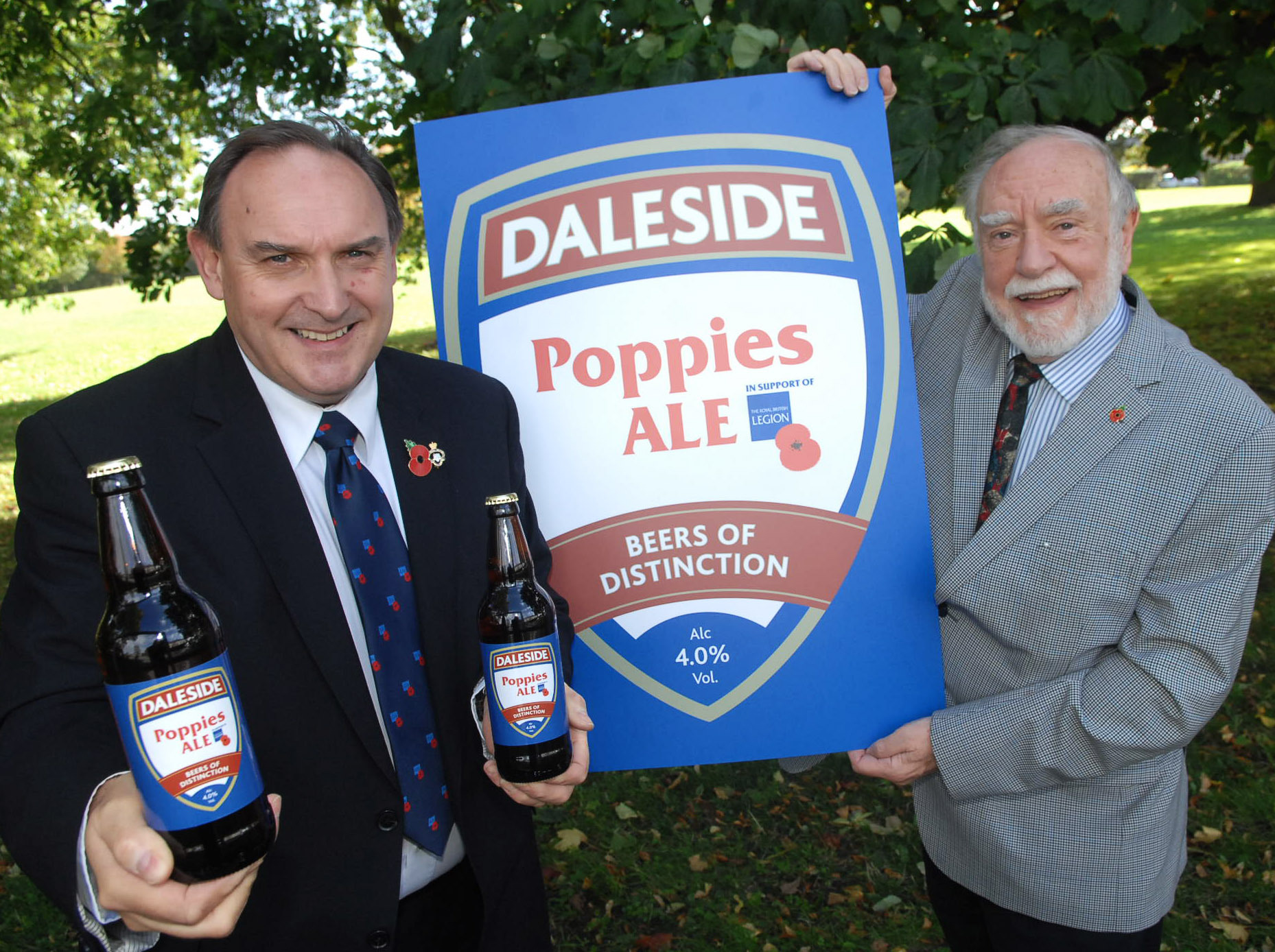 CHEERS: Poppy Appeal fund raiser for North and East Yorkshire Paul Collingridge with Eric Lucas managing director of Daleside Brewery