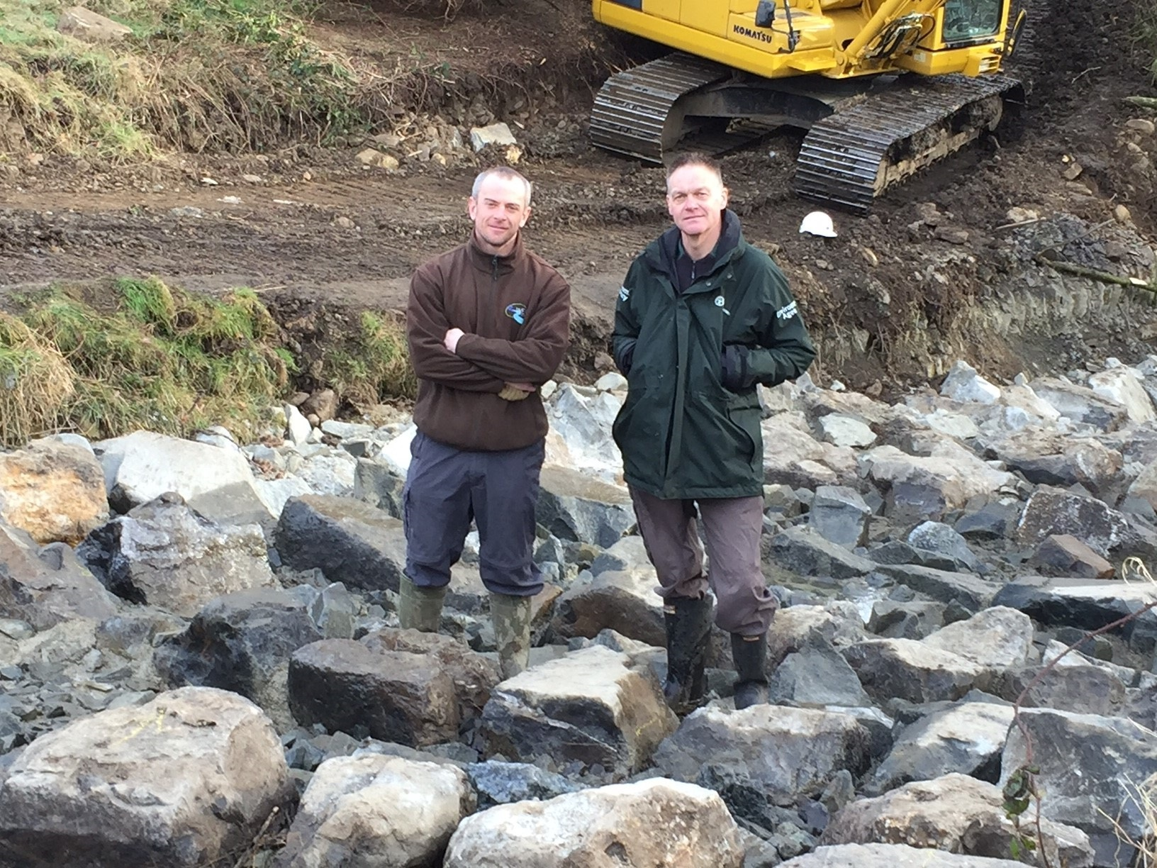 PASS: From left, Steve Hudson from Wear Rivers Trust and Paul Frear from the Environment Agency at Brancepeth Beck