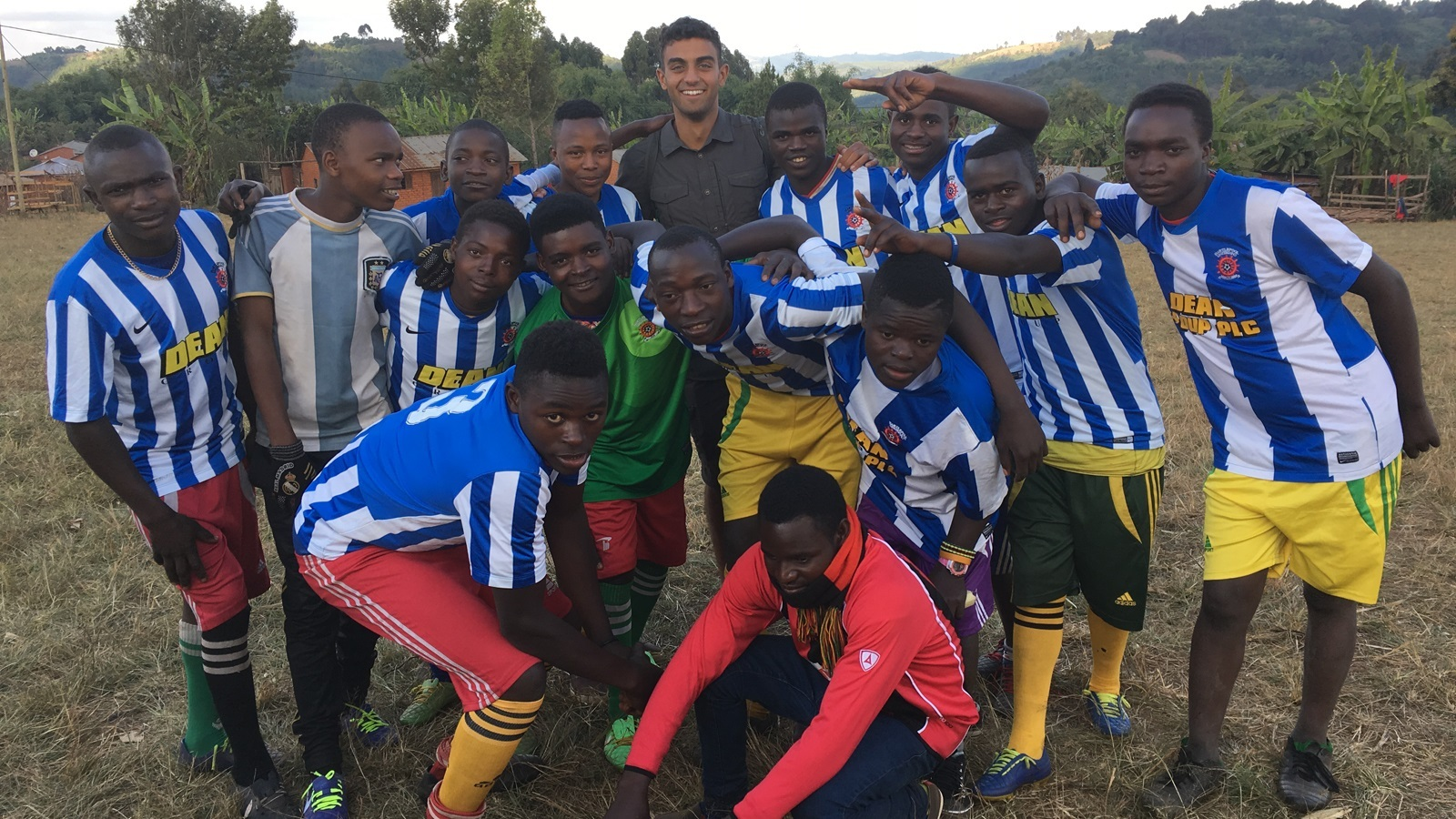 Student Tom Buller helps dozens of deprived Tanzanian youngsters with a shipment of Hartlepool United kits donated by the club