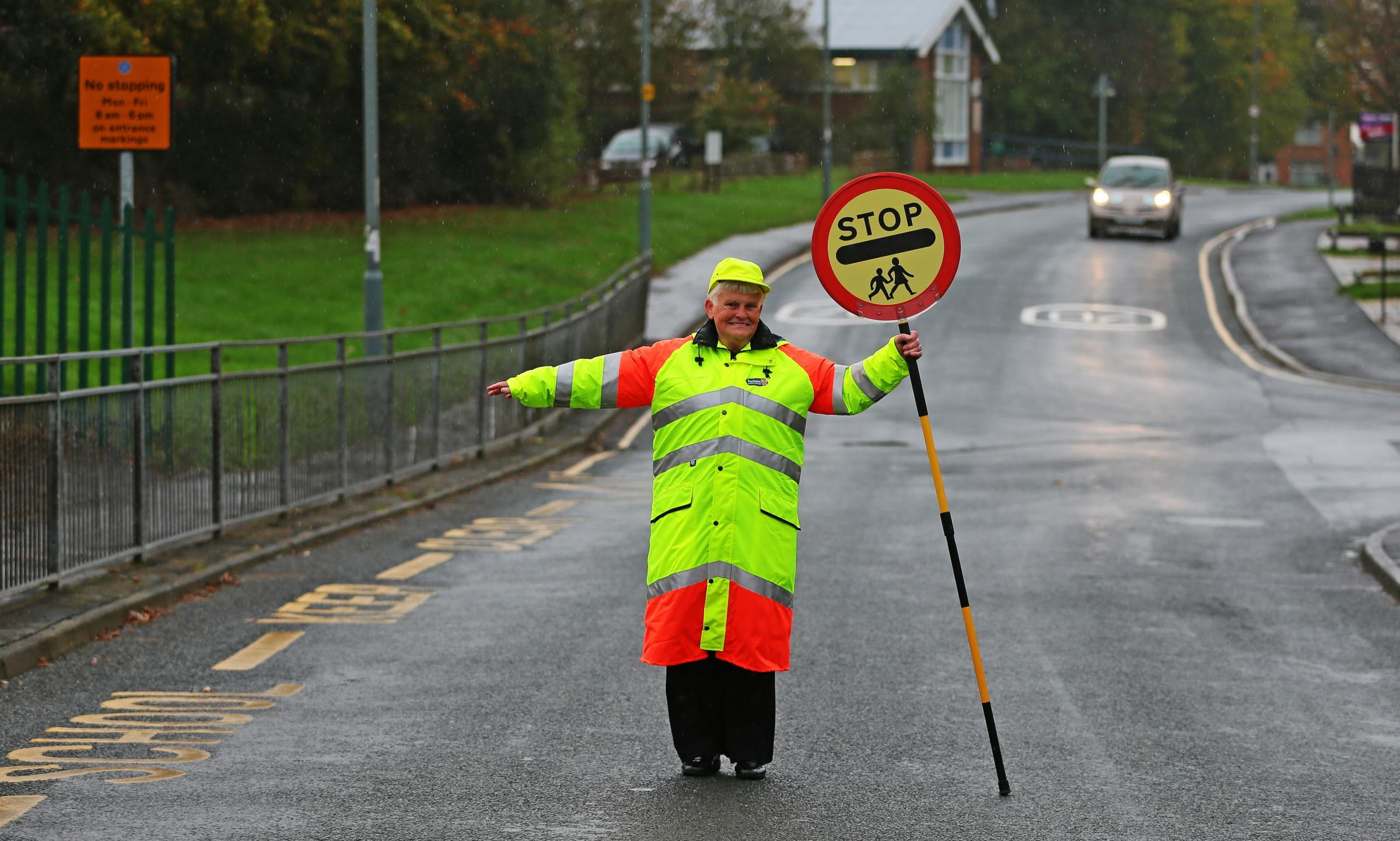 RETIRE: Long-serving school crossing patrol woman Doreen Rowntree hangs up lollipop after helping generations of school kids over same stretch of road for decades Picture: SARAH CALDECOTT
