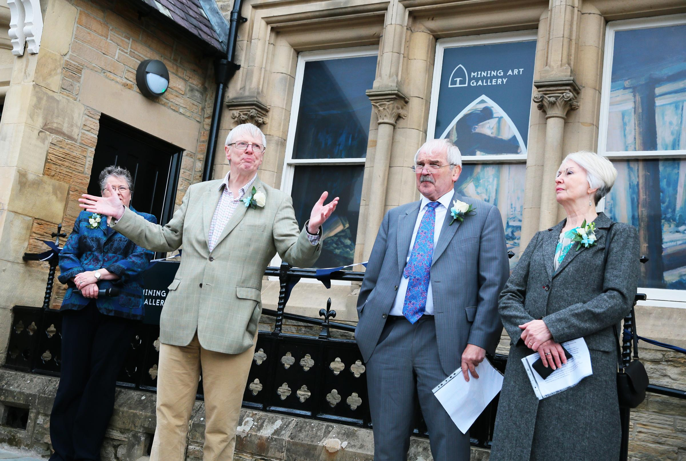 OPEN: Jonathan Ruffer makes a speech ahead of the ribbon cutting at Bishop Auckland's new Mining Art Gallery Picture: SARAH CALDECOTT