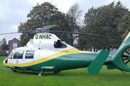 HELP: Air Ambulance landed in Trinity Church, Stockton, this afternoon Picture: Stockton Alert