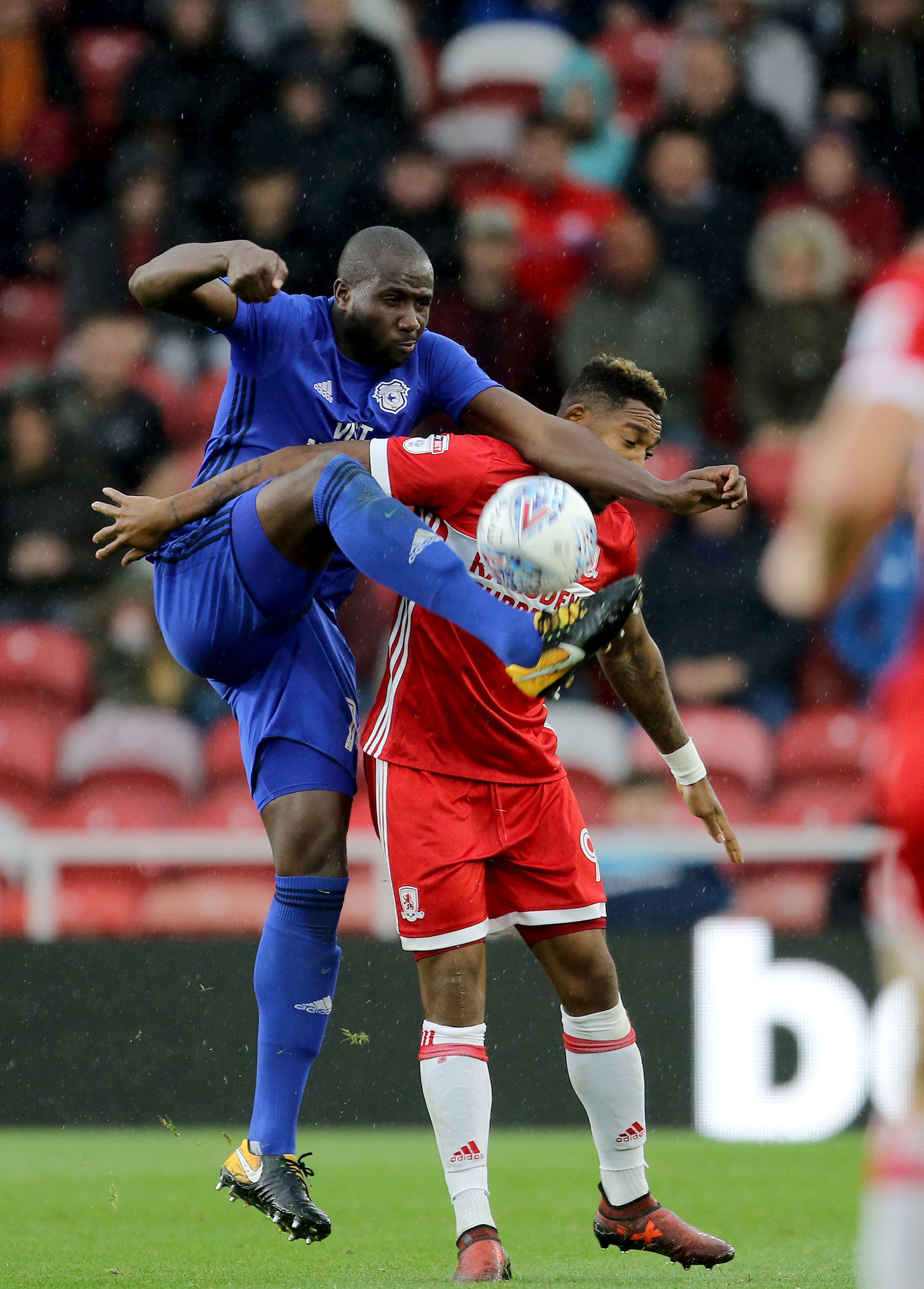 NO WAY THROUGH: Sol Bamba holds off Middlesbrough striker Britt Assombalonga (Picture: Richard Sellers/PA Wire)