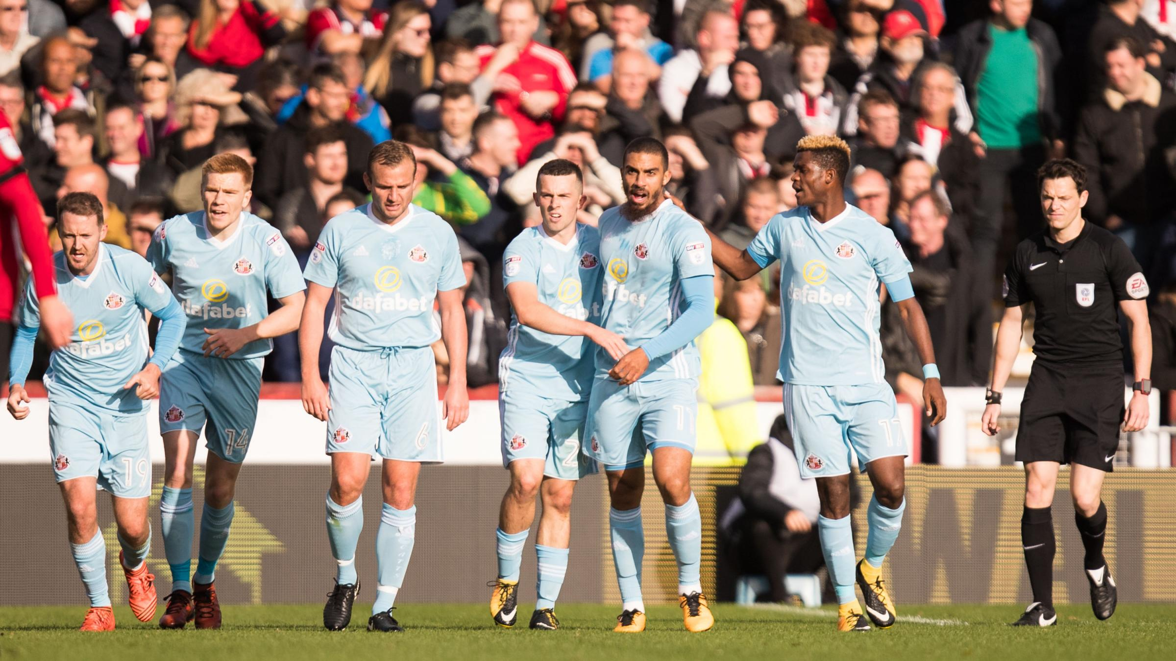 ALL SMILES: Sunderland's players celebrate a goal during their 3-3 draw with Brentford (Picture: Mark Fuller)
