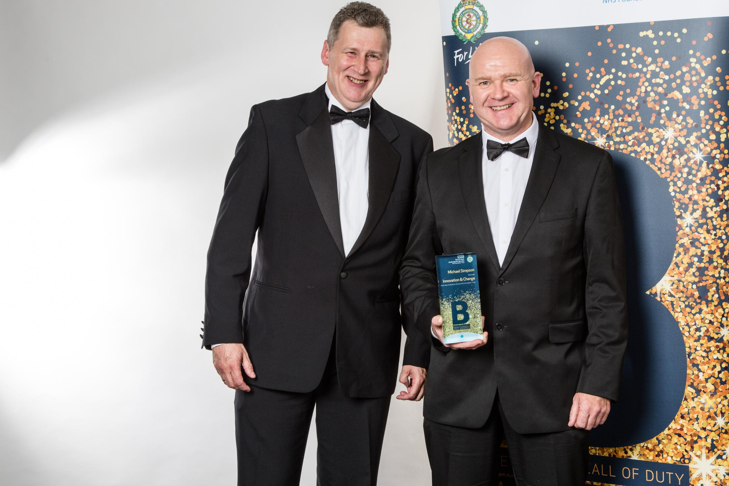AWARDS: Innovation and change winner Michael Simpson, of Newton Aycliffe, with manager, consultant paramedic Paul Aitken-Fell