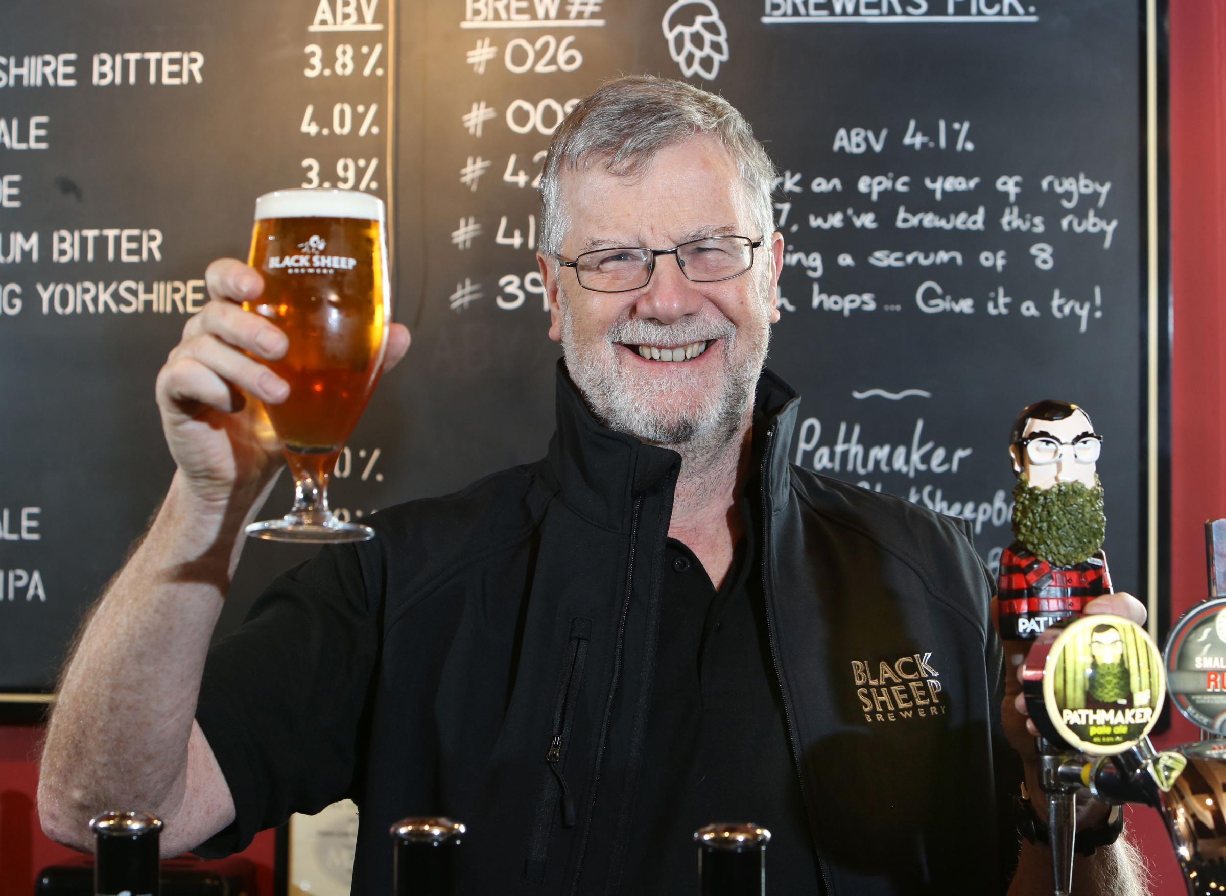 SUCCESS: Black Sheep Brewery founder Paul Theakston raises a glass to Pathmaker being awarded four stars at The Beer Awards 2017