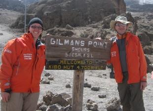 TRIBUTE TRIP: Keith and Rachel Turner at Gilman's Point, about 300 metres from the summit