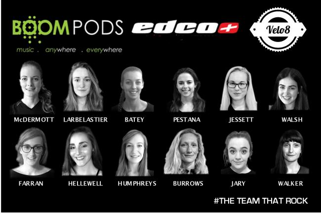 The North-East based Boompods EDCO Velo8 cycling team will ride as a 12-woman and four junior rider team