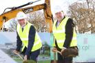 OCCASION: Phil Wilson MP, left, and CPI chief executive Nigel Perry break ground on the organisation's new NetPark base