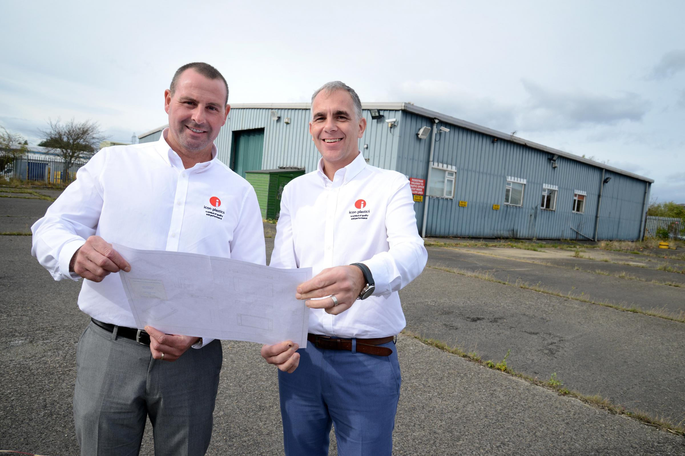 PLANS: Gareth Thomas, managing director, left, and operations director Phil Walker outside the company's new site