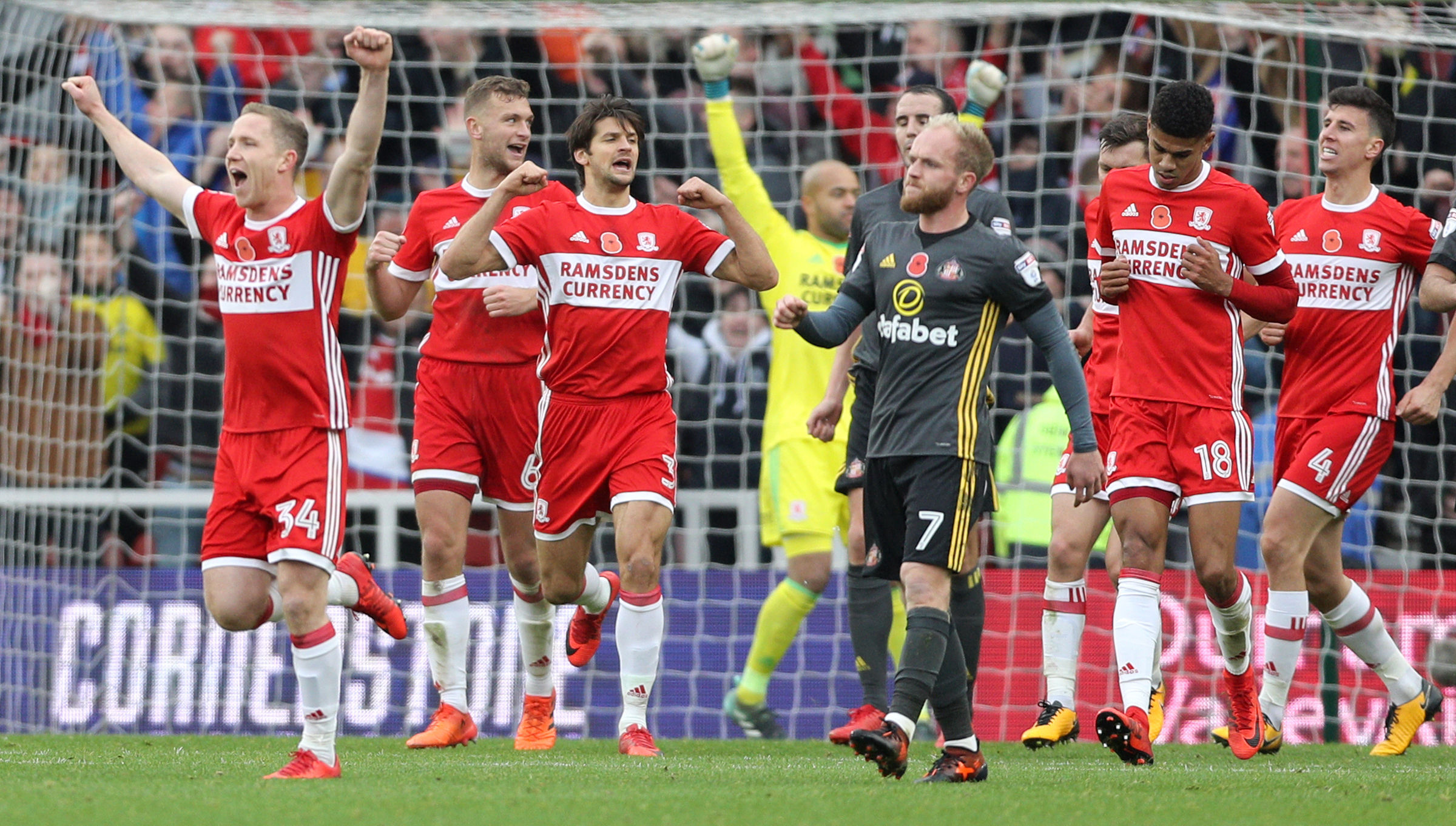 DELIGHT: Ramsdens Holdings says its currency division has played a key part in its recent growth. The operation is a familiar sight to local football fans, with Ramsdens' name emblazoned on Middlesbrough FC's shirts    Picture: PA WIRE