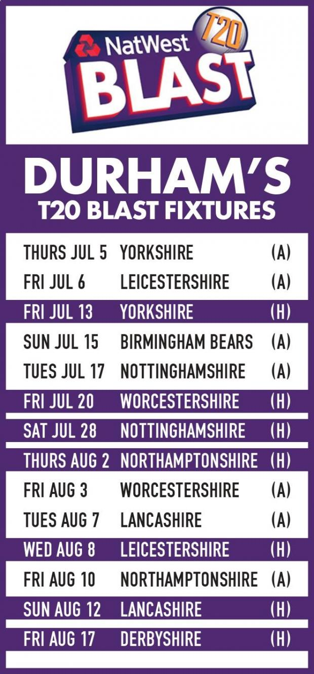CRICKET: Durham's 2018 T20 Blast fixture list is released | The