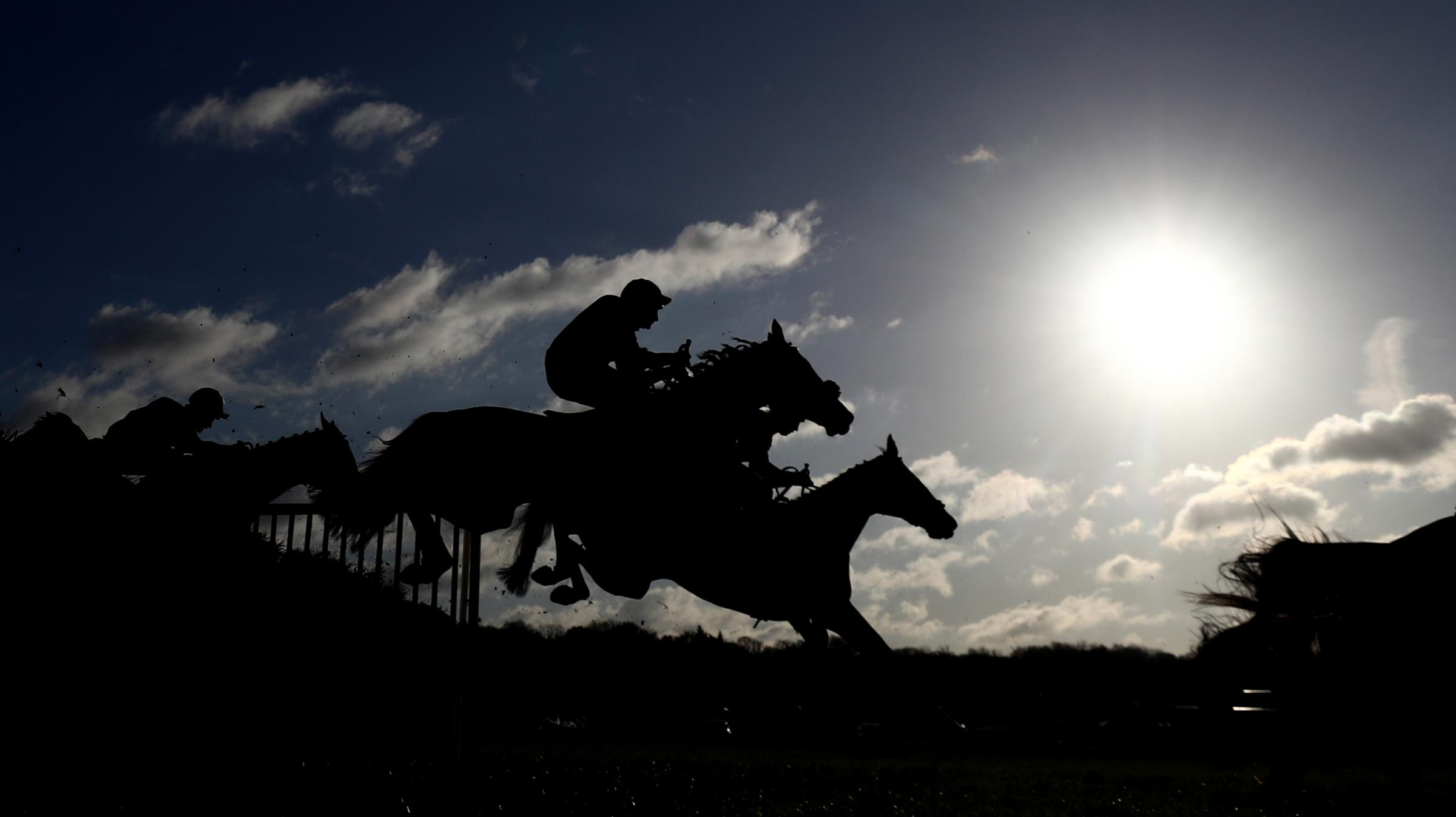Runners and riders in the Ladbrokes Novices' Hurdle during day one of the The Ladbrokes Winter Carnival at Newbury Racecourse. Picture: Tim Goode/PA Wire
