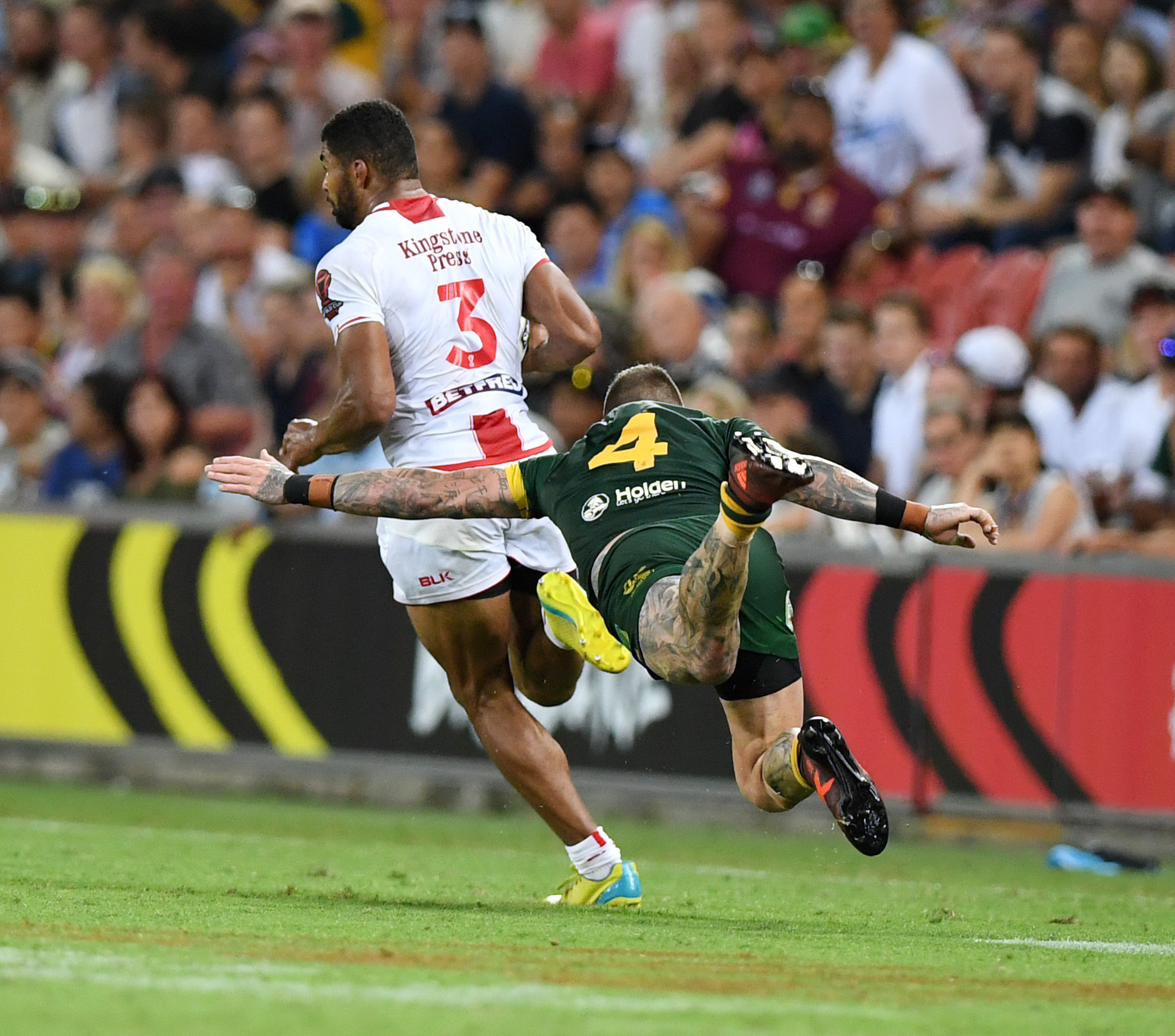 Handout photo provided by NRL Imagery of Australia's Josh Dugan Tackles England's Kallum Watkins (left) during the final of the 2017 Rugby League World Cup at the Suncorp Stadium, Brisbane . PRESS ASSOCIATION Photo. Issue date: Saturday December 2