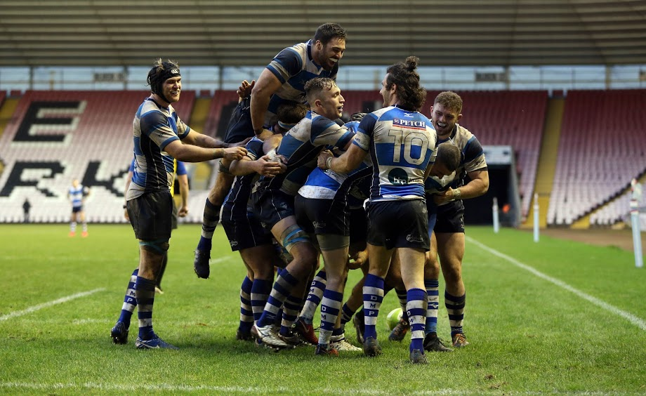 ALL SMILES: Darlington Mowden Park's players celebrate in the wake of Adam Radwan's decisive late try against Ampthill (Pictures: Christopher Booth/Shutter Press)