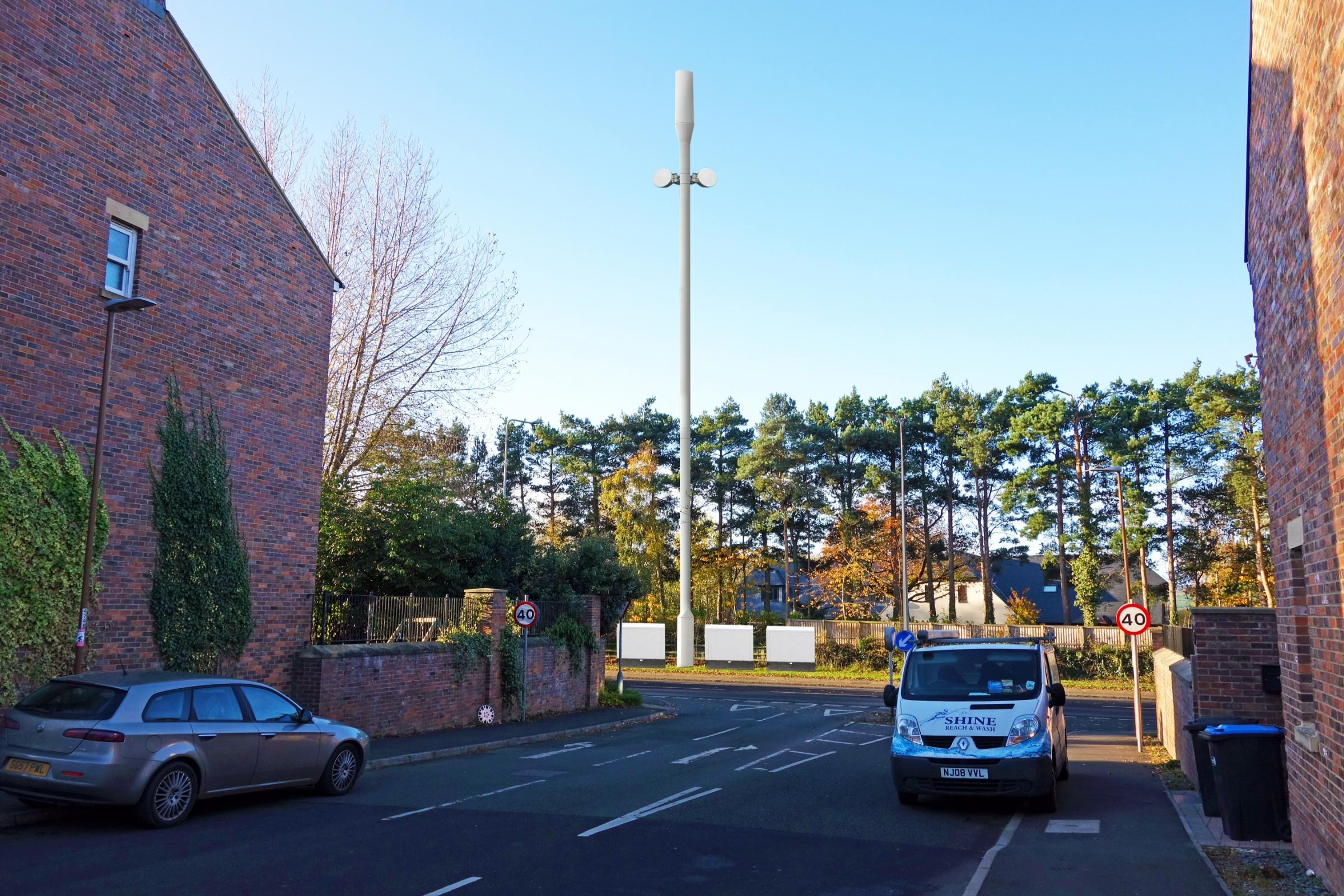 A mock-up of how the proposed mast would look if built next to the A167 Darlington Road, in Neville's Cross, Durham